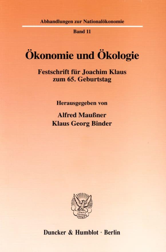 Cover Ökonomie und Ökologie