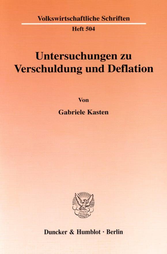 Cover Untersuchungen zu Verschuldung und Deflation