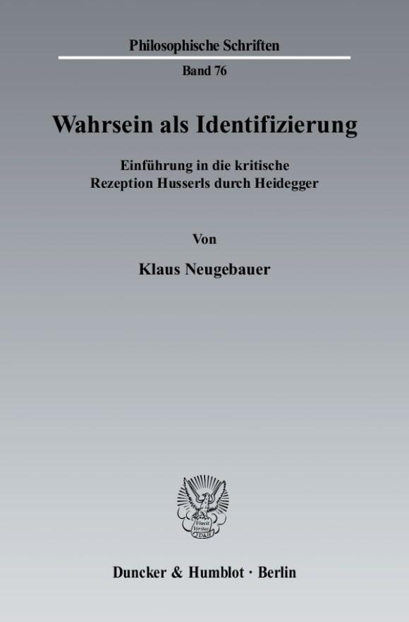 Cover Wahrsein als Identifizierung