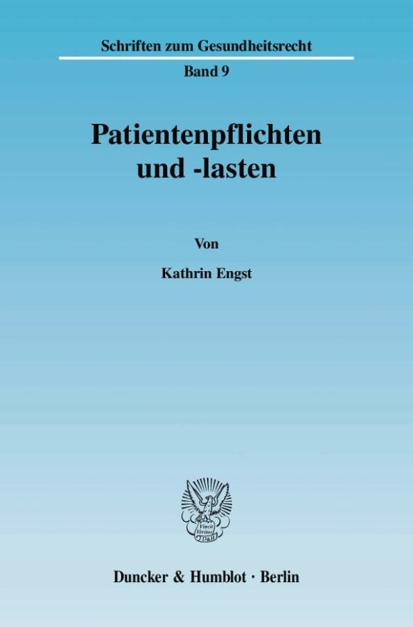 Cover Patientenpflichten und -lasten