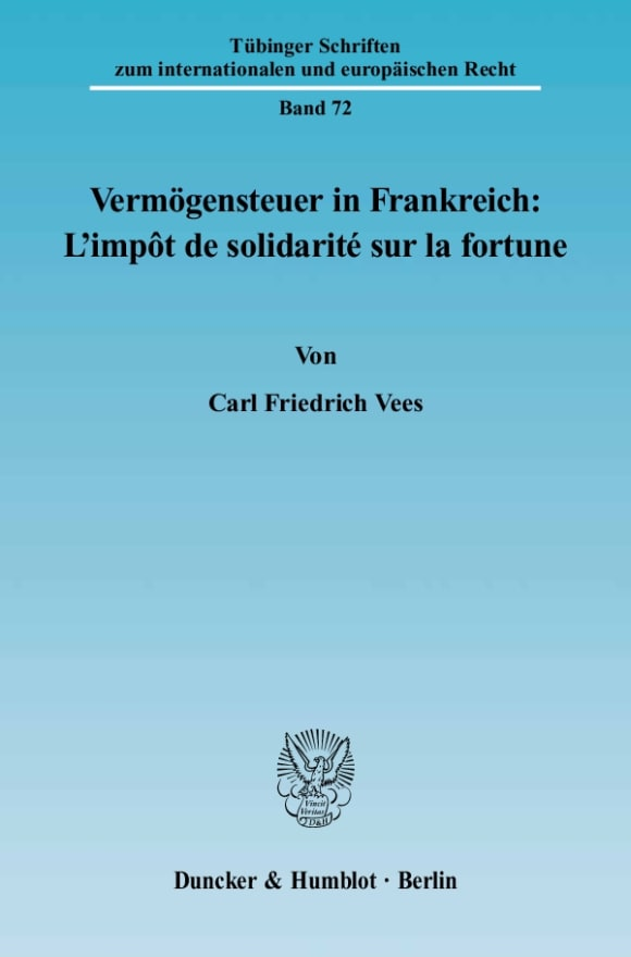 Cover Vermögensteuer in Frankreich: L'impôt de solidarité sur la fortune