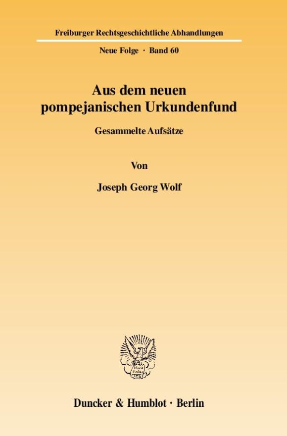 Cover Aus dem neuen pompejanischen Urkundenfund
