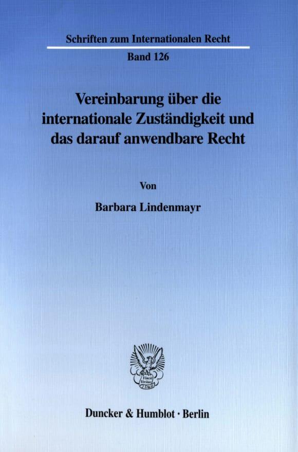 Cover Vereinbarung über die internationale Zuständigkeit und das darauf anwendbare Recht