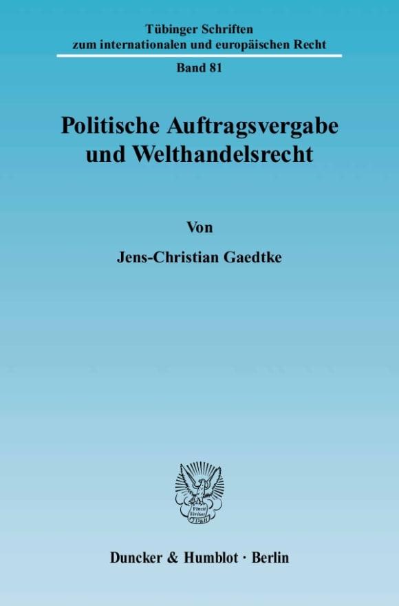 Cover Politische Auftragsvergabe und Welthandelsrecht