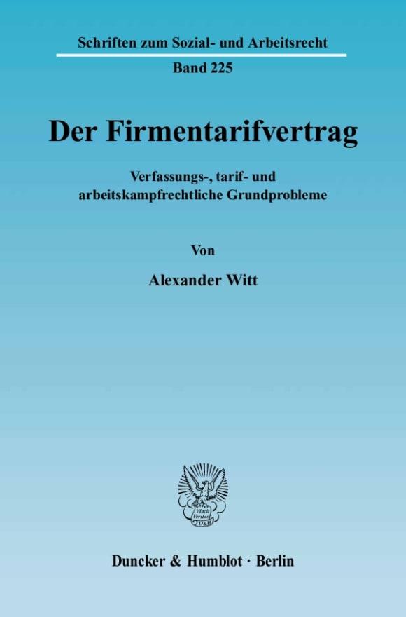 Cover Der Firmentarifvertrag