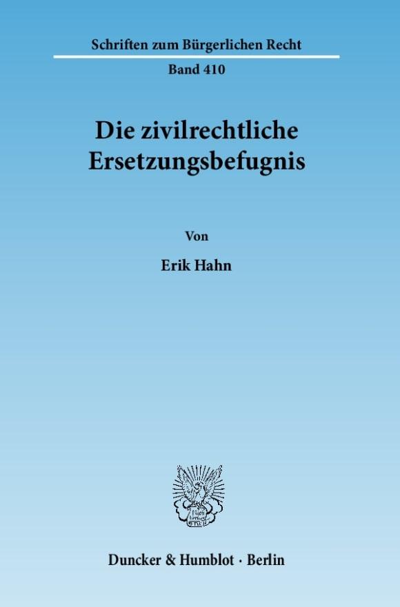 Cover Die zivilrechtliche Ersetzungsbefugnis