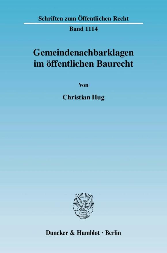 Cover Gemeindenachbarklagen im öffentlichen Baurecht