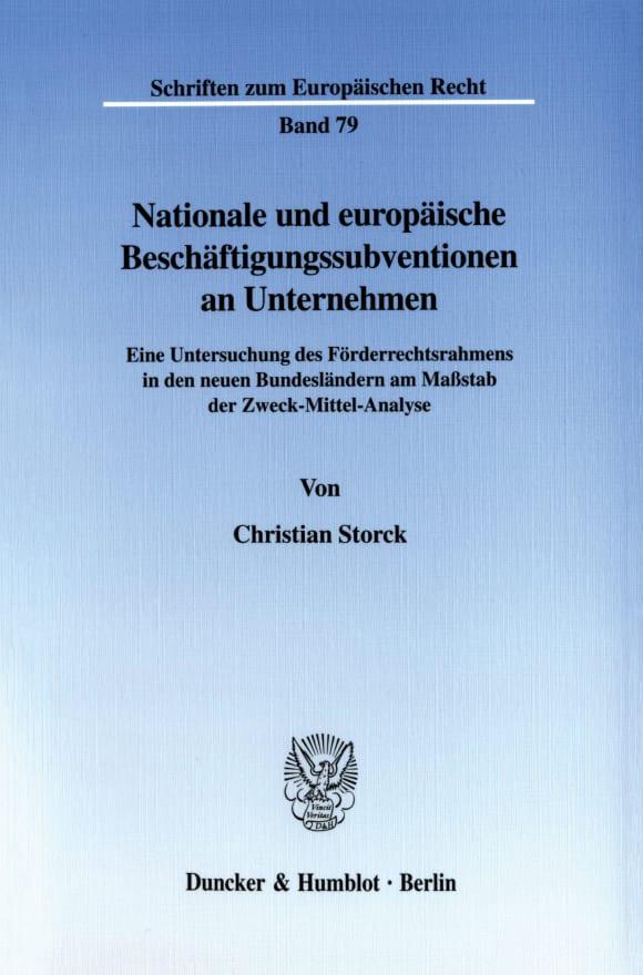 Cover Nationale und europäische Beschäftigungssubventionen an Unternehmen