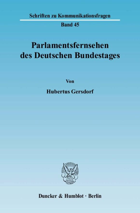 Cover Parlamentsfernsehen des Deutschen Bundestages