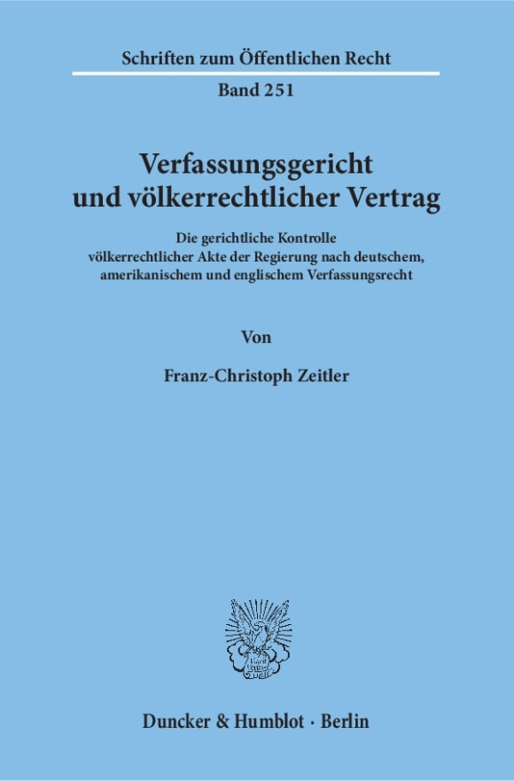 Cover Verfassungsgericht und völkerrechtlicher Vertrag