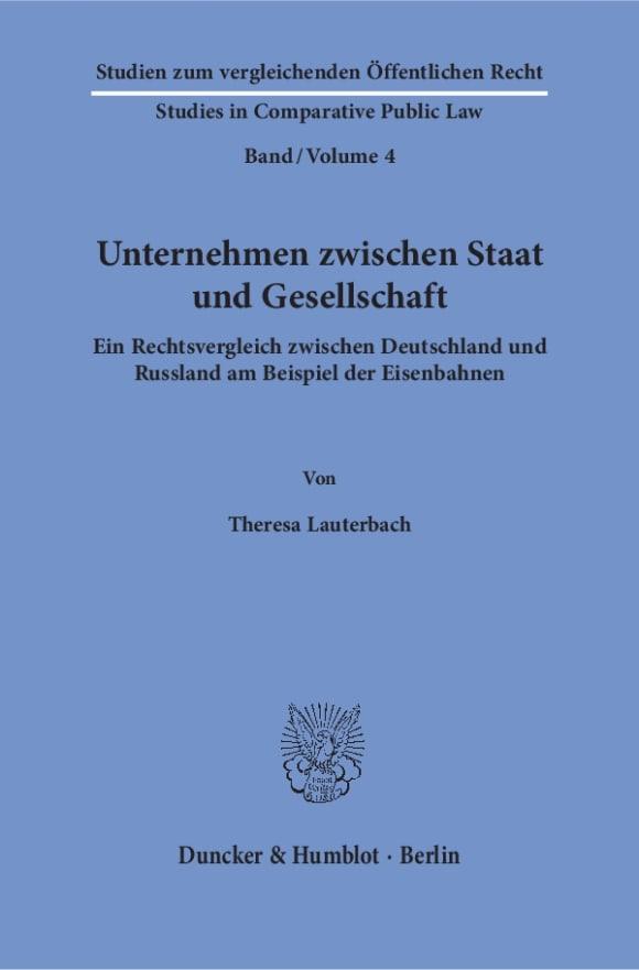 Cover Unternehmen zwischen Staat und Gesellschaft