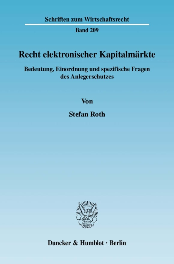 Cover Recht elektronischer Kapitalmärkte