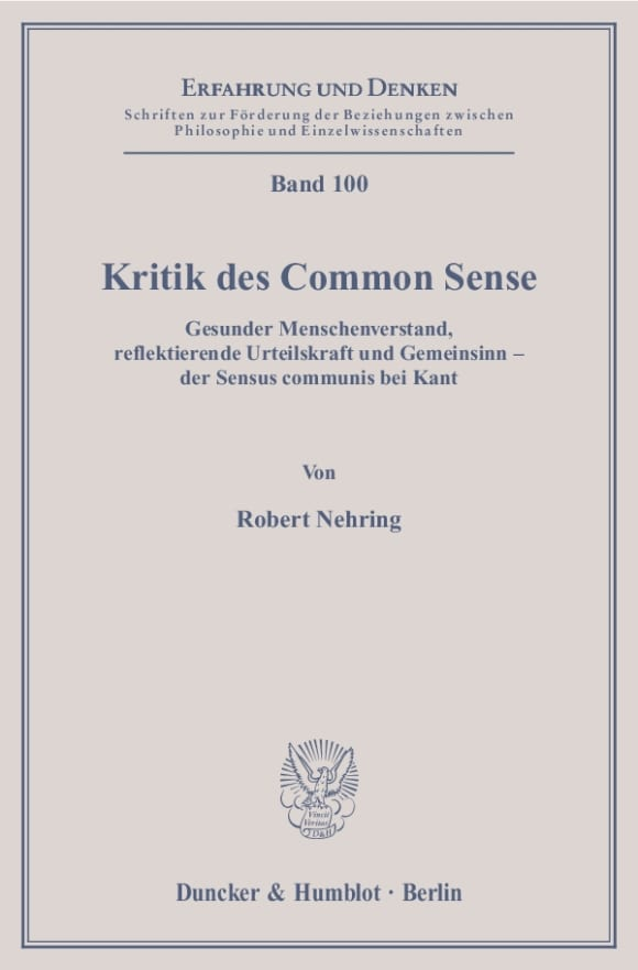 Cover Kritik des Common Sense