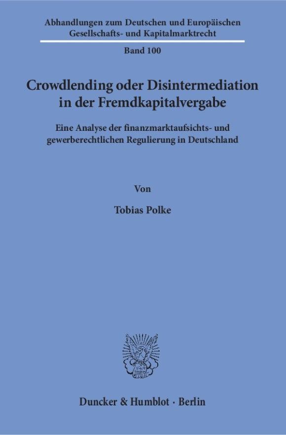 Cover Crowdlending oder Disintermediation in der Fremdkapitalvergabe