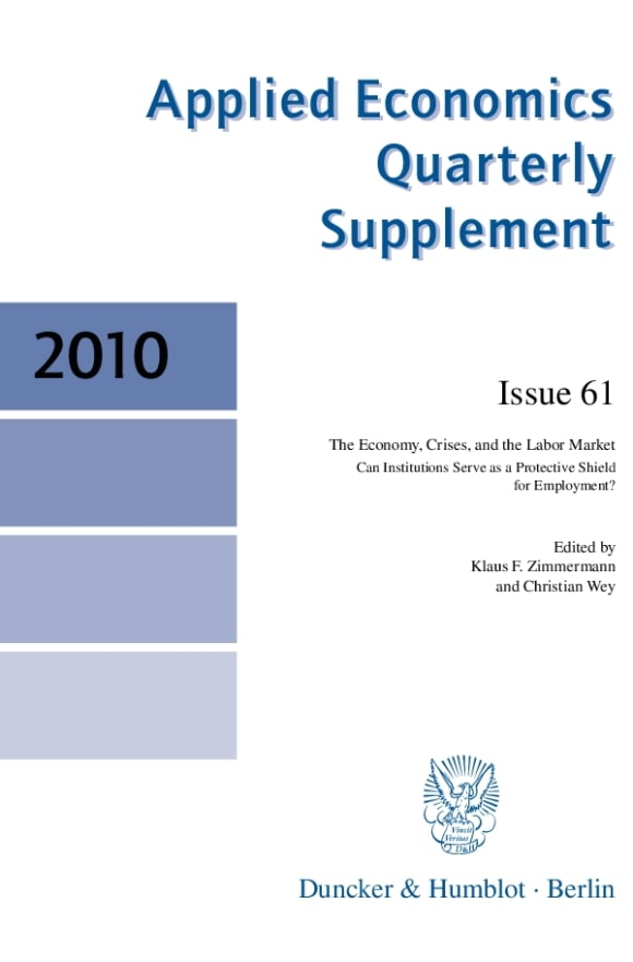 Cover Applied Economics Quarterly. Supplements (SUP AEQ)