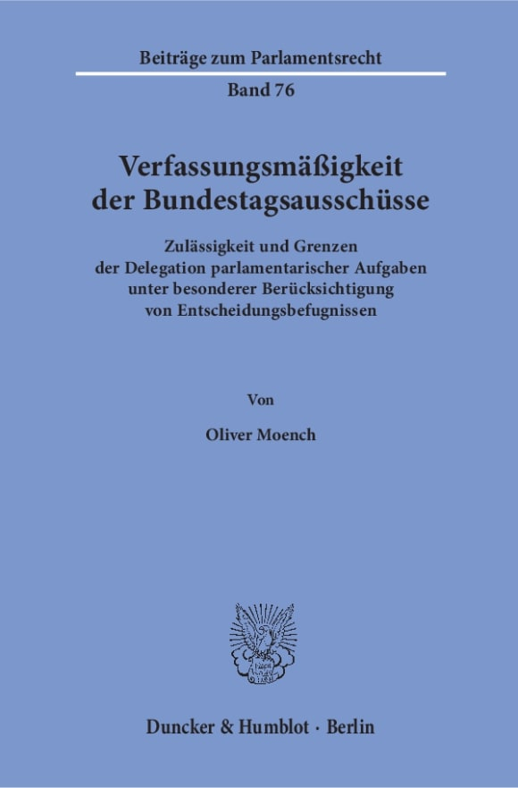 Cover Verfassungsmäßigkeit der Bundestagsausschüsse