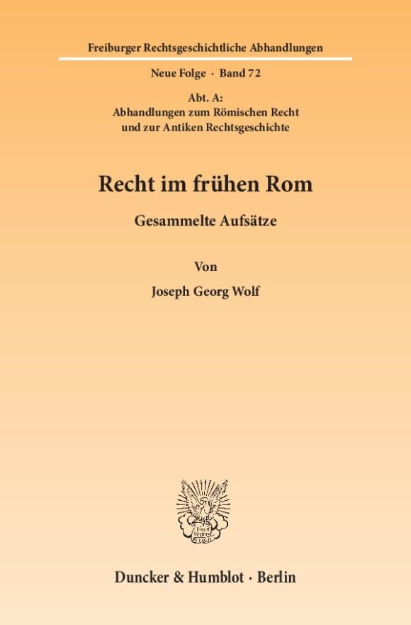 Cover Recht im frühen Rom