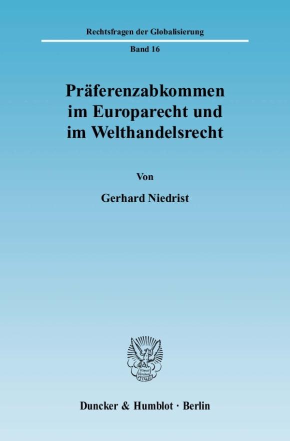 Cover Präferenzabkommen im Europarecht und im Welthandelsrecht