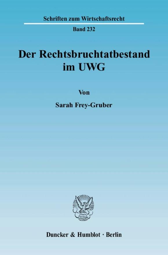 Cover Der Rechtsbruchtatbestand im UWG