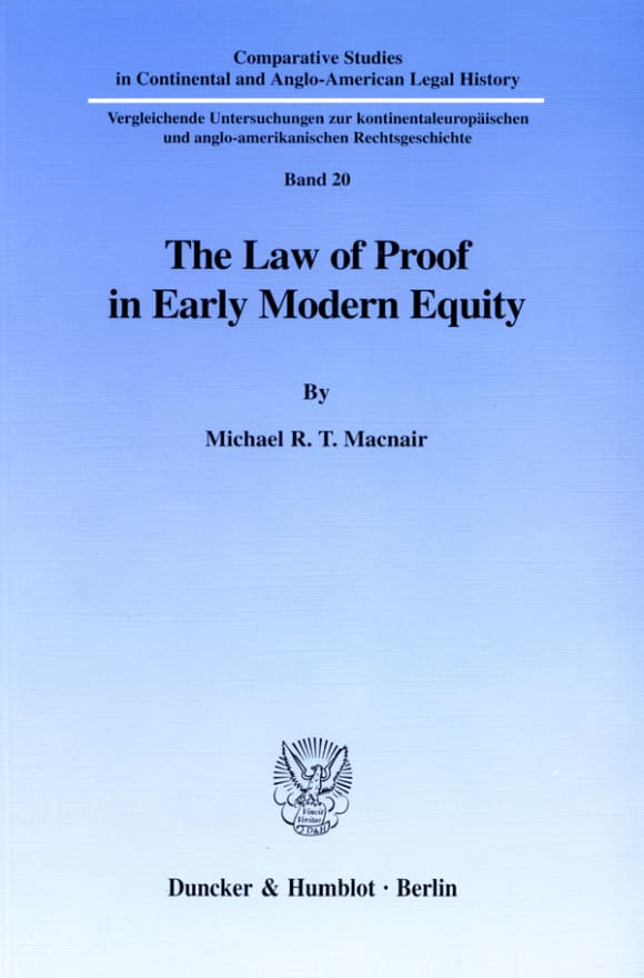 Cover The Law of Proof in Early Modern Equity