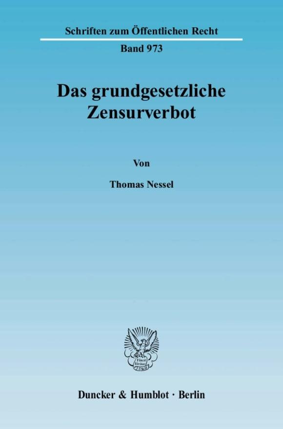 Cover Das grundgesetzliche Zensurverbot