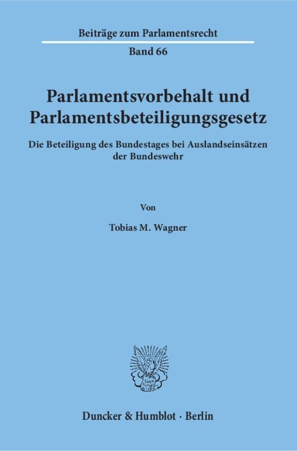 Cover Parlamentsvorbehalt und Parlamentsbeteiligungsgesetz