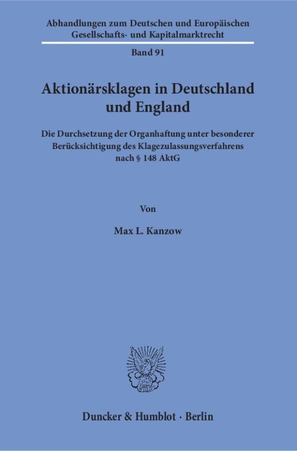 Cover Aktionärsklagen in Deutschland und England