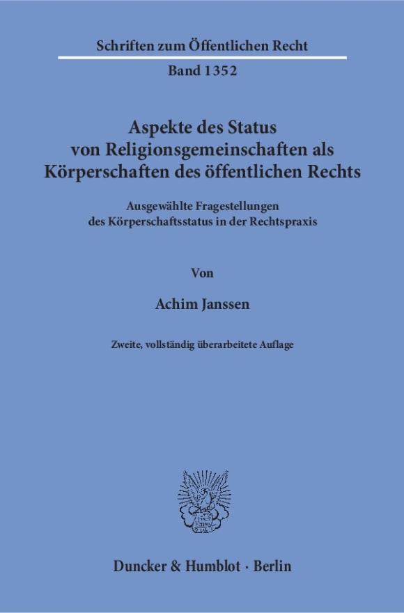 Cover Aspekte des Status von Religionsgemeinschaften als Körperschaften des öffentlichen Rechts