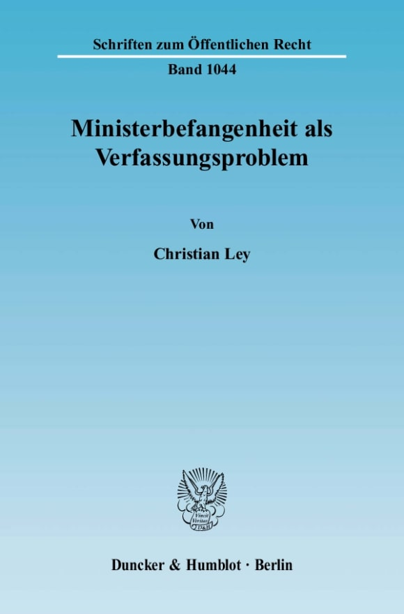 Cover Ministerbefangenheit als Verfassungsproblem