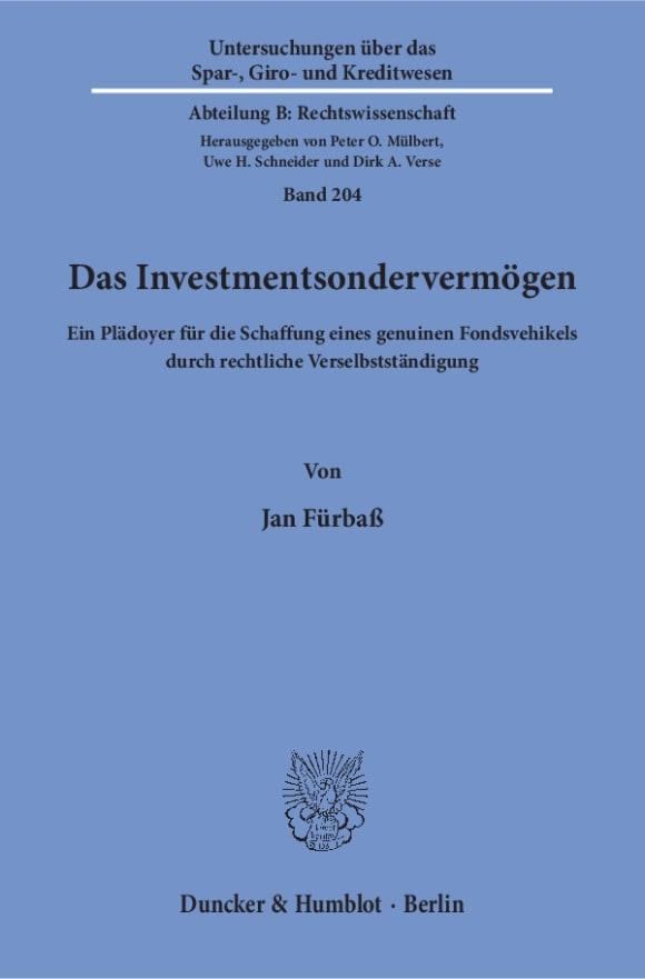 Cover Das Investmentsondervermögen