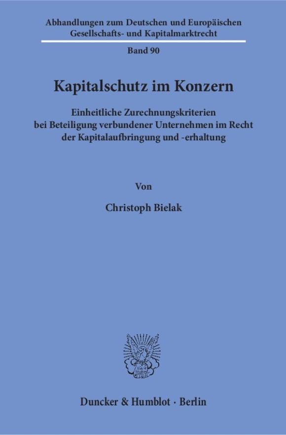 Cover Kapitalschutz im Konzern