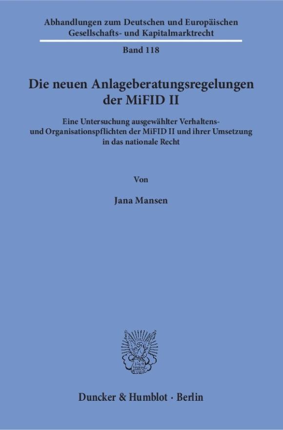 Cover Die neuen Anlageberatungsregelungen der MiFID II
