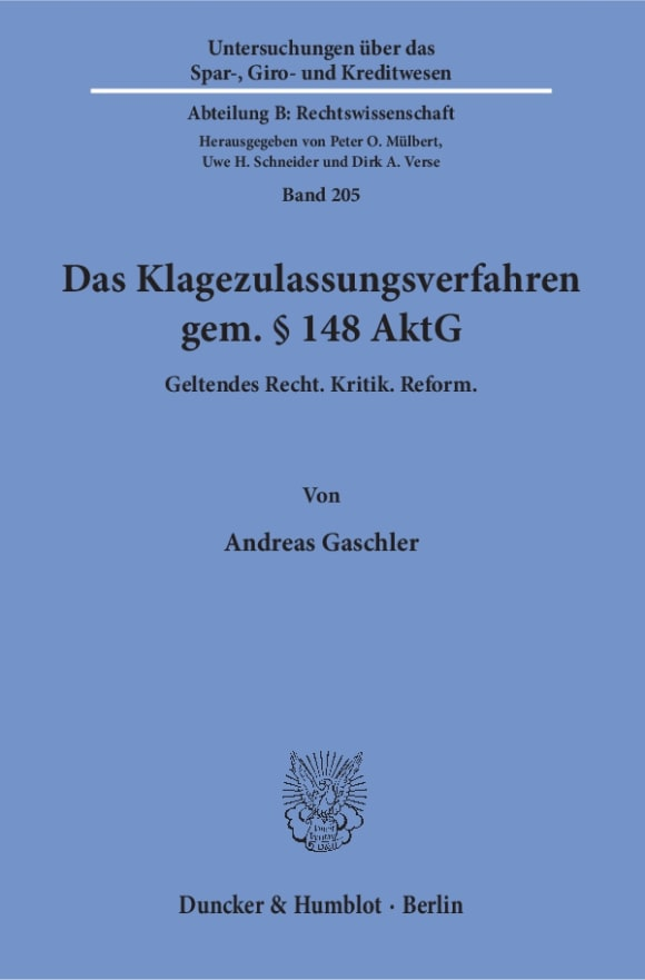 Cover Das Klagezulassungsverfahren gem. § 148 AktG
