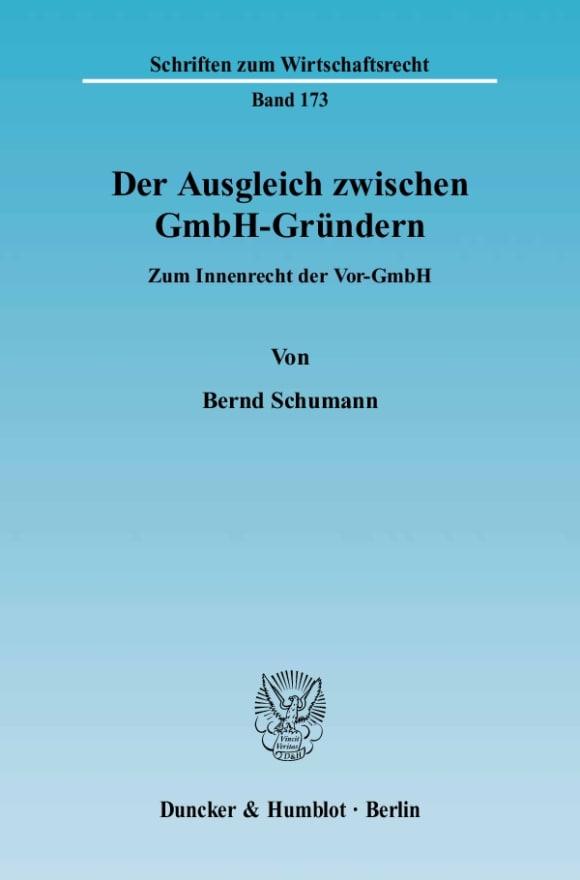 Cover Der Ausgleich zwischen GmbH-Gründern