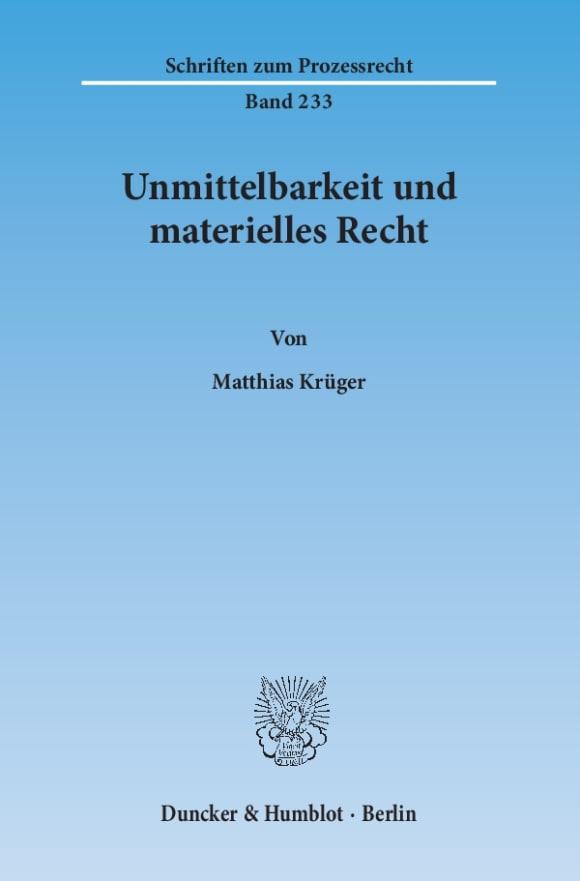 Cover Unmittelbarkeit und materielles Recht