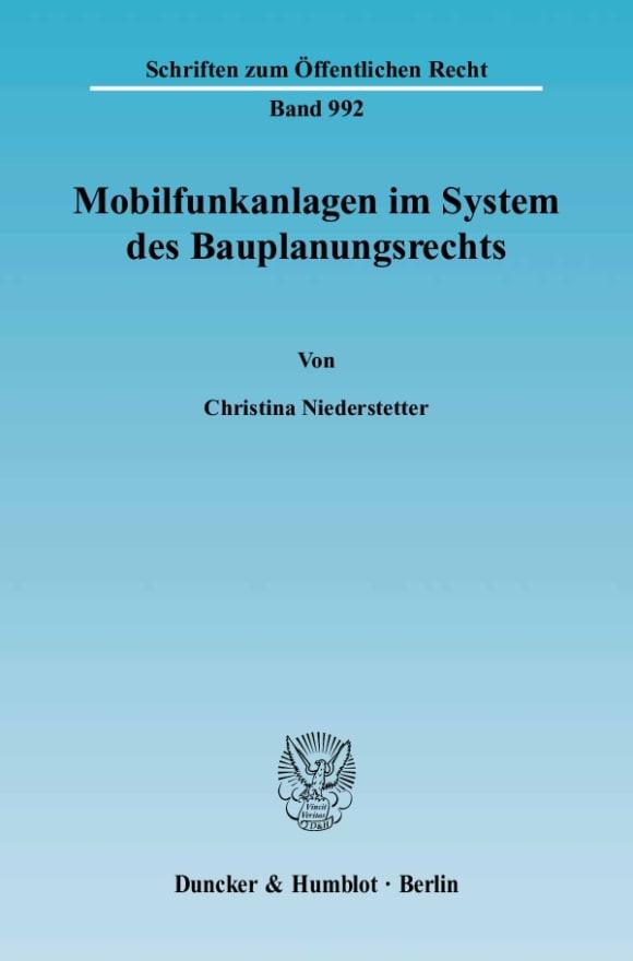Cover Mobilfunkanlagen im System des Bauplanungsrechts