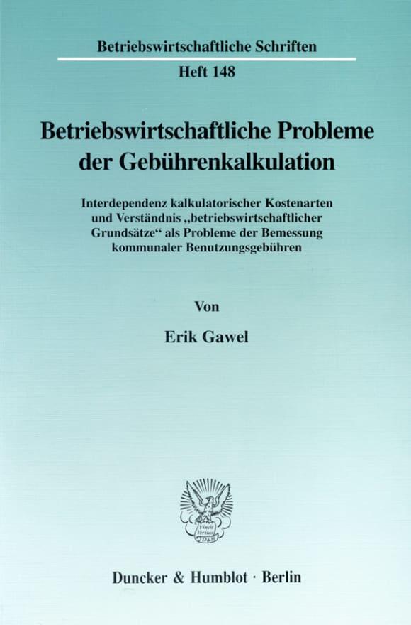 Cover Betriebswirtschaftliche Probleme der Gebührenkalkulation