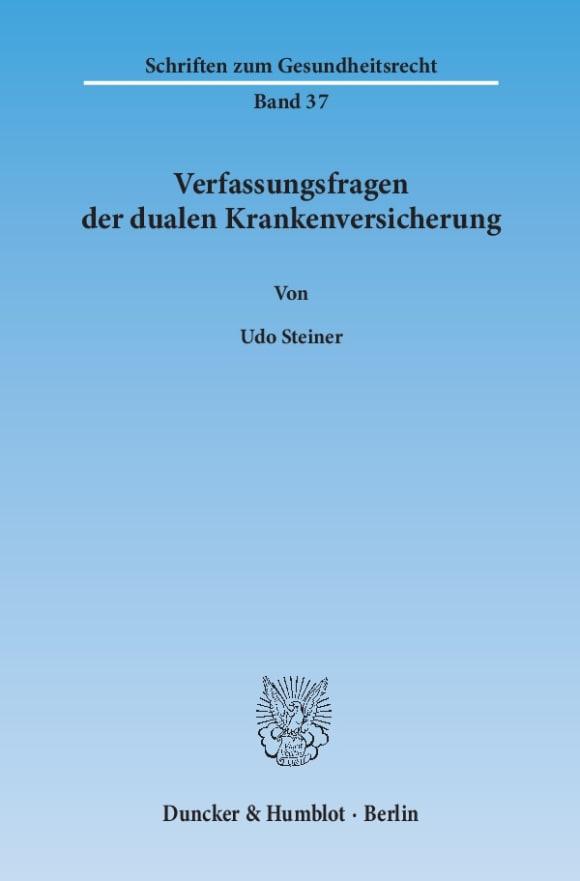 Cover Verfassungsfragen der dualen Krankenversicherung