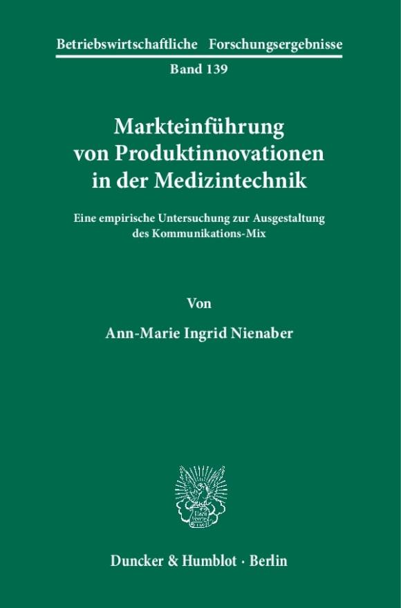 Cover Markteinführung von Produktinnovationen in der Medizintechnik