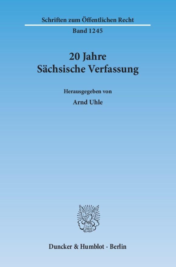 Cover 20 Jahre Sächsische Verfassung