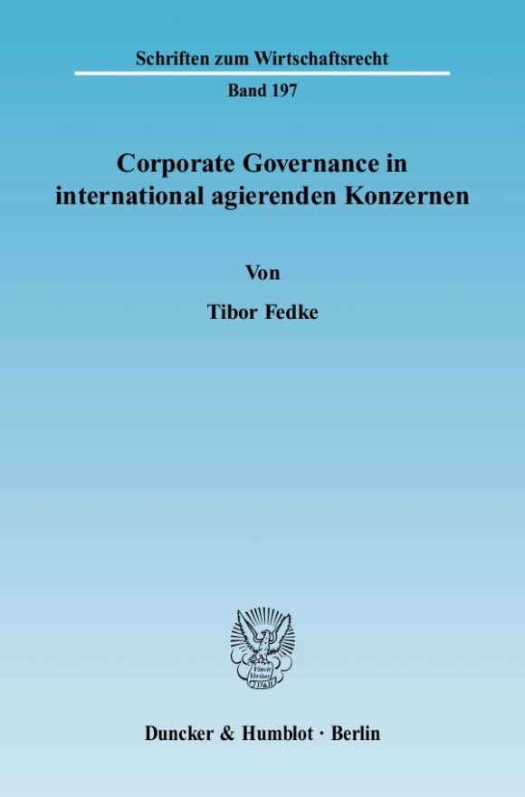 Cover Corporate Governance in international agierenden Konzernen