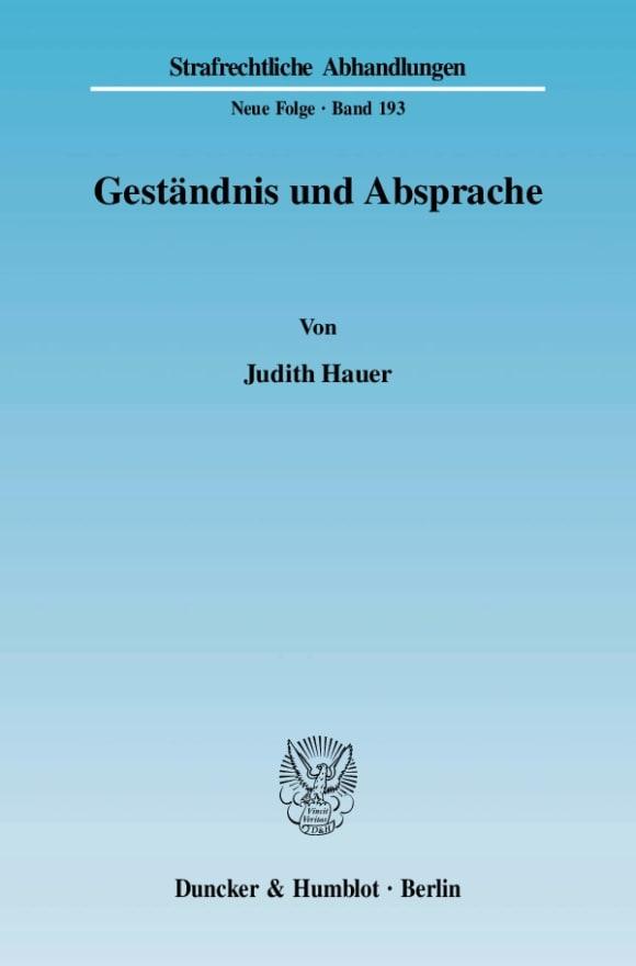 Cover Geständnis und Absprache
