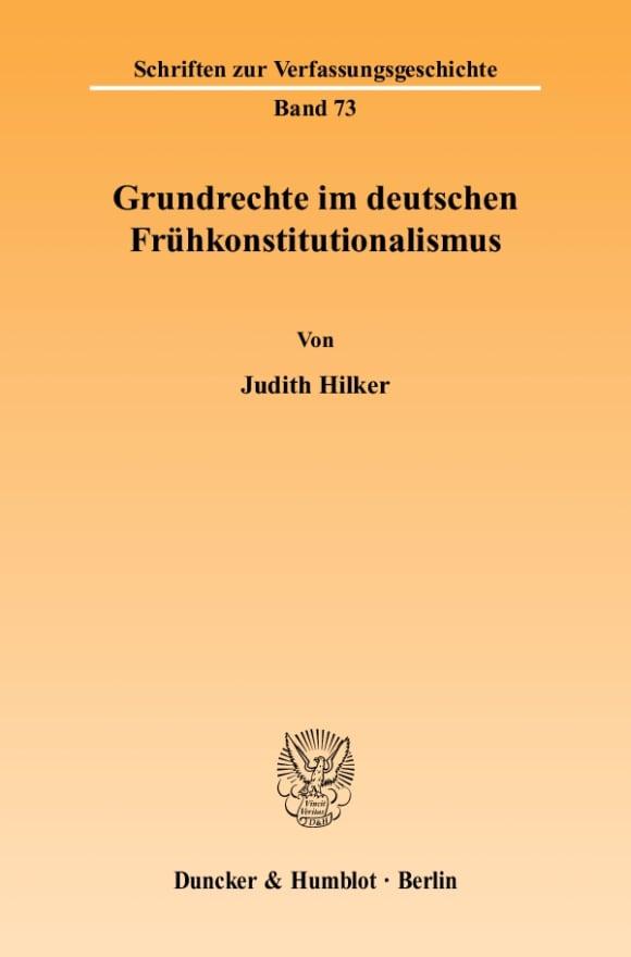 Cover Grundrechte im deutschen Frühkonstitutionalismus