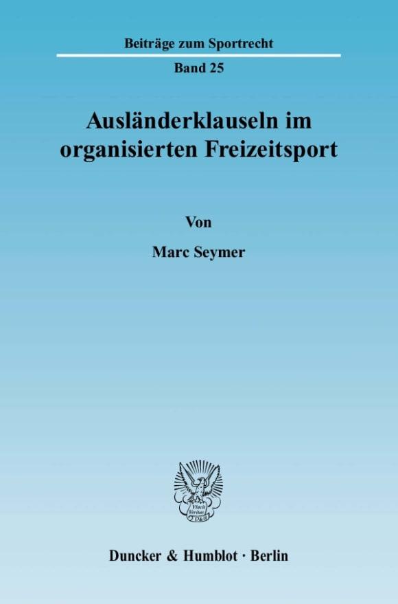 Cover Ausländerklauseln im organisierten Freizeitsport