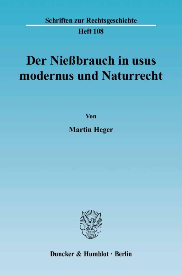 Cover Der Nießbrauch in usus modernus und Naturrecht