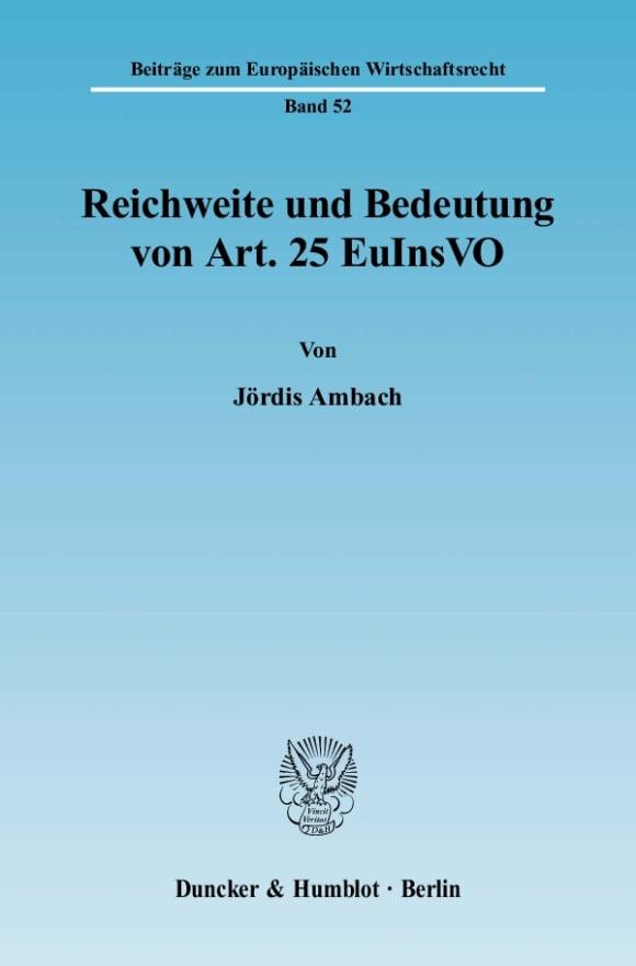 Cover Reichweite und Bedeutung von Art. 25 EuInsVO