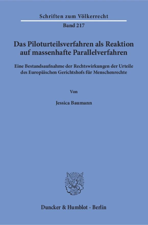 Cover Das Piloturteilsverfahren als Reaktion auf massenhafte Parallelverfahren