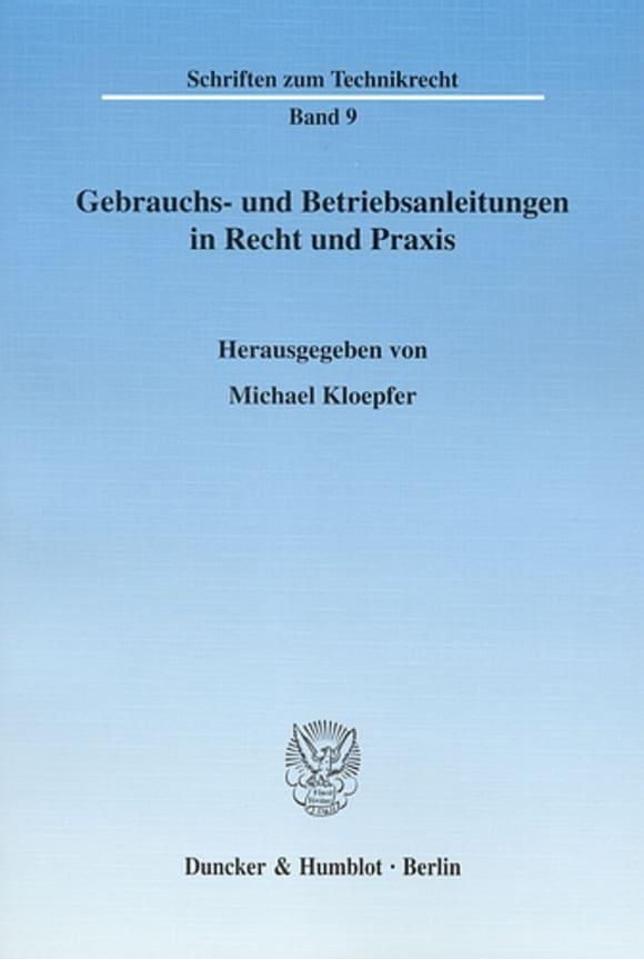 Cover Gebrauchs- und Betriebsanleitungen in Recht und Praxis