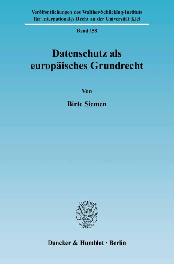 Cover Datenschutz als europäisches Grundrecht