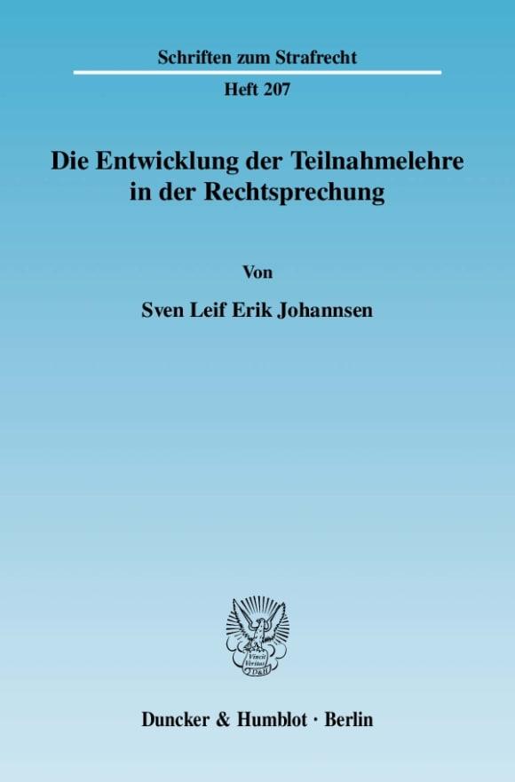 Cover Die Entwicklung der Teilnahmelehre in der Rechtsprechung